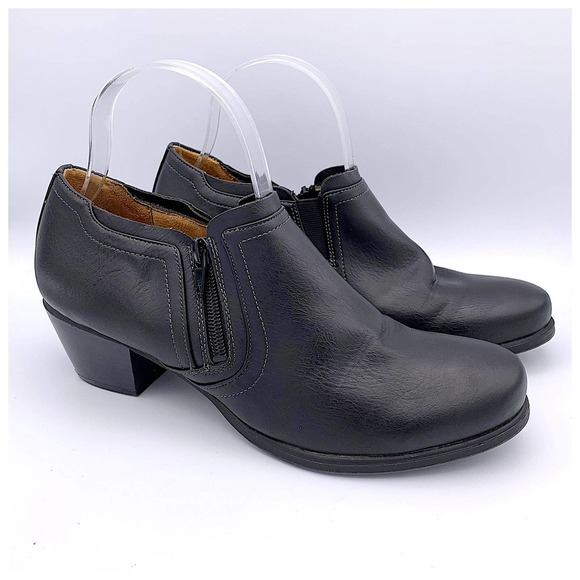 Kasta Black Faux Leather Ankle Boots